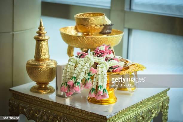 Flower chains in Thai wedding ceremony