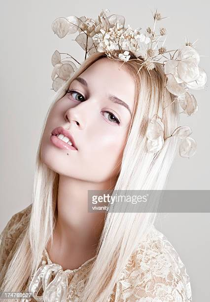 flower crown - headdress stock pictures, royalty-free photos & images