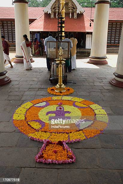 Flower decoration done during Onam Festival Kerala India