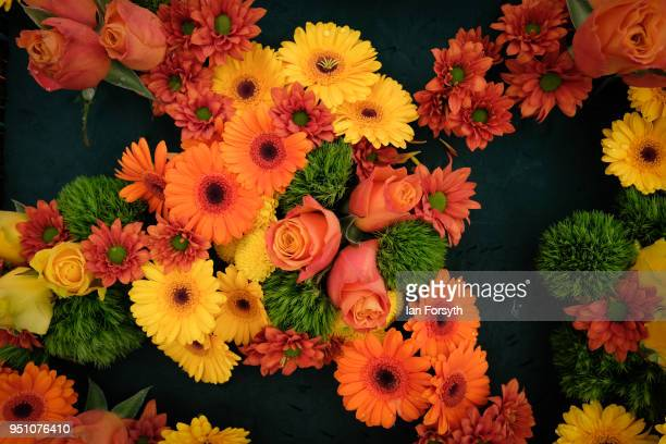 Flower displays are arranged by members of the Yorkshire Flower Club during staging day for the Harrogate Spring Flower Show on April 25 2018 in...