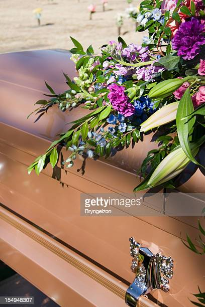 flower draped coffin - place concerning death stock pictures, royalty-free photos & images