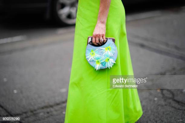 A flower embroidered bag during London Fashion Week February 2018 on February 18 2018 in London England