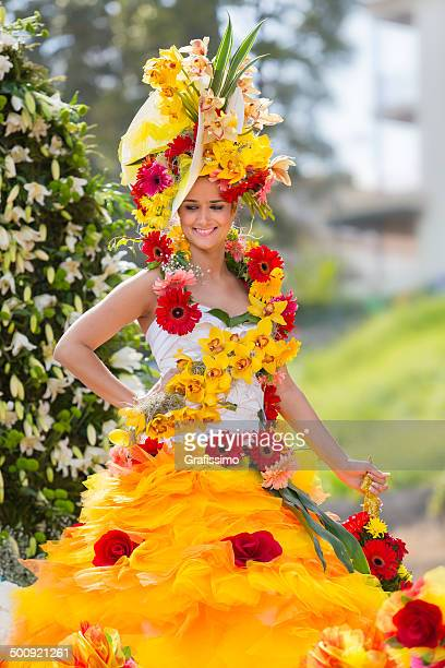 Flower Festival in Madeira Portugal woman at parade