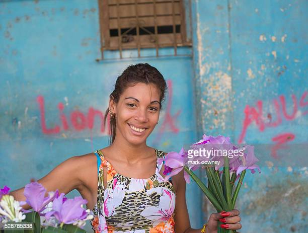 Flower Girl laughs with Photographer Havana Cuba