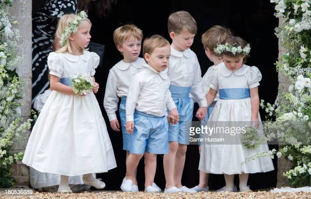Flower girls and Page boys at the wedding of James Meade and Lady Laura Marsham at the parish church of St Nicholas in Gayton on September 14 2013 in...