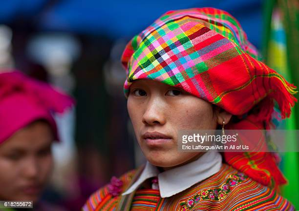 Flower hmong woman with a headscarf sapa Vietnam on February 1 2011 in Sa Pa Vietnam