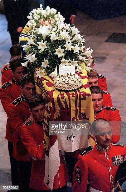 Flower laden coffin of Princess Diana seen from above during funeral procession