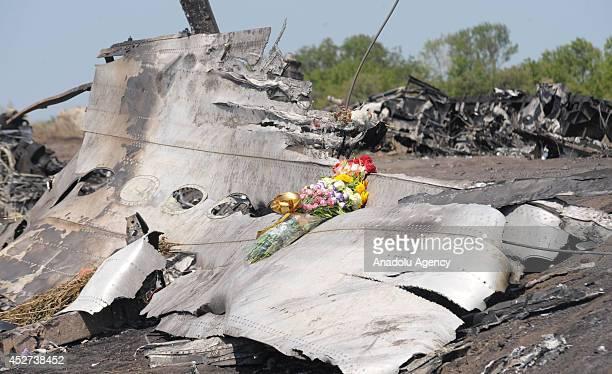 Flower left by Jerzy Dyczynski and Angela Rudhart-Dyczynski whose daughter Fatima Dyczynski was a passenger on Malaysia Airlines flight MH17,is seen...