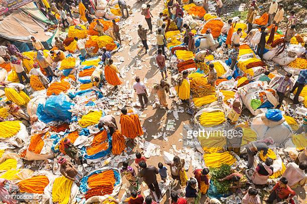 flower market in calcutta - kolkata stock pictures, royalty-free photos & images