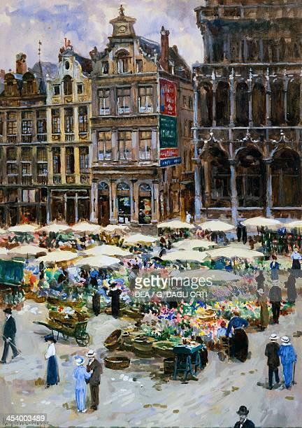 Flower market in the Grand Place Brussels watercolour by Ketty GilsouHoppe 53x365 cm
