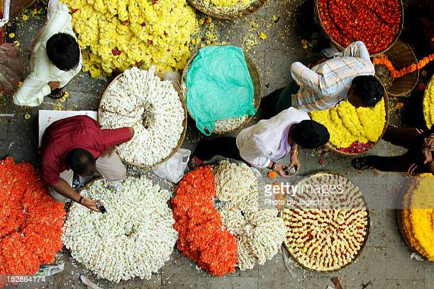 flower market - india market stock photos and pictures