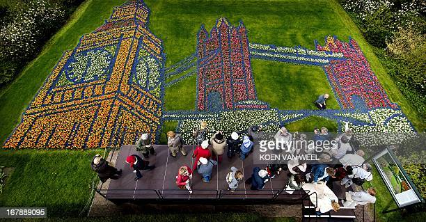 A flower mosaic representing Big Ben and Tower Bridge is pictured in the Keukenhof in Lisse on May 2 2013 The theme of the flower garden for 2013 is...