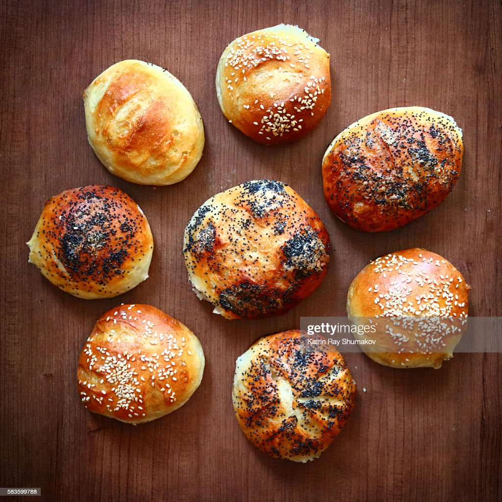 Flower of Buns. Homemade Rustic French Breads : Stock Photo