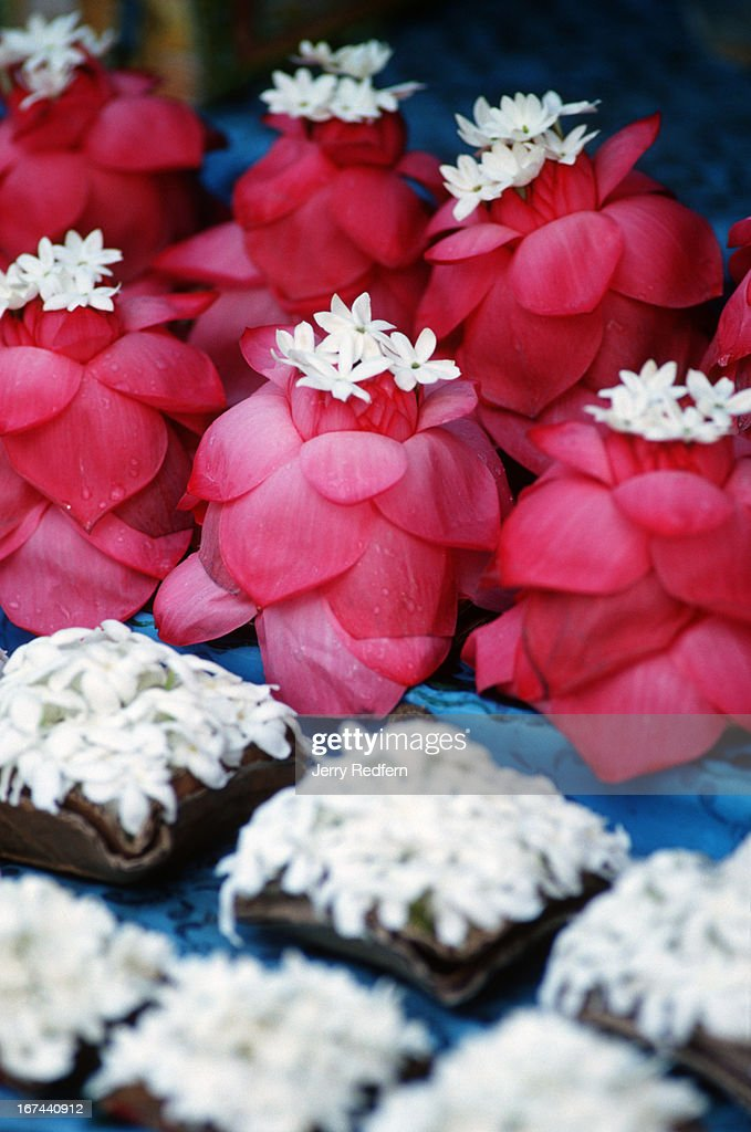 Flower offerings for sale are lined up at a stall in front of The Temple of The Tooth. The temple is believed to hold a tooth of the Buddha, and has been a target of attack by Tamil Tiger rebels..