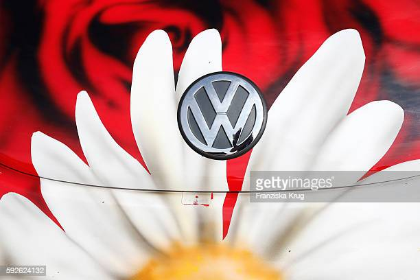 A flower painting on a Beetle during the 12th Beetle Sunshine Tour To Travemuende the 12th Beetle Sunshine Tour on August 20 2016 in Luebeck Germany