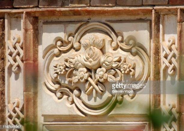 flower pattern decorating exterior of middle east summer palace in tabriz, iran - vogel stock pictures, royalty-free photos & images