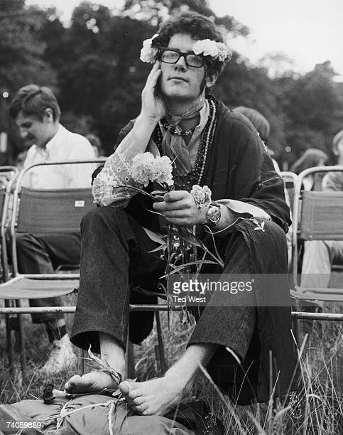 A flower person at Britain's biggest ever lovein held in the grounds of Woburn Abbey 26th August 1967