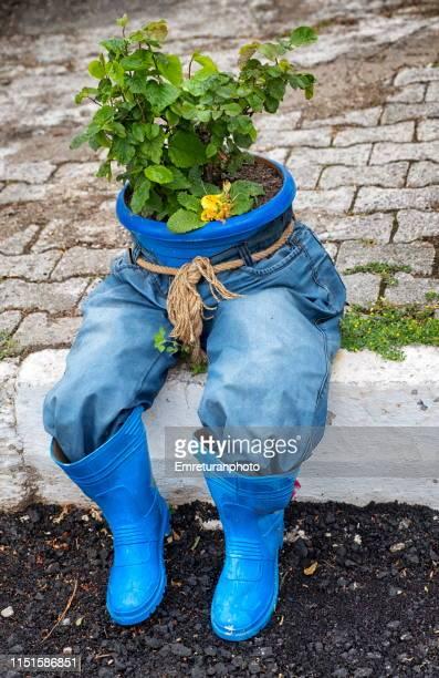 flower pot in blue jeans on the sidewalk. - ブーツイン ストックフォトと画像