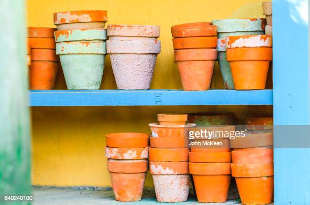 flower pots on a shelf - plant pot stock pictures, royalty-free photos & images