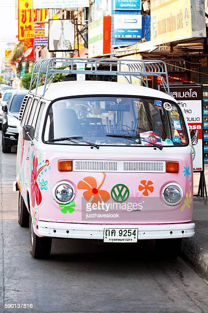 Flower power styled VW van oldtimer