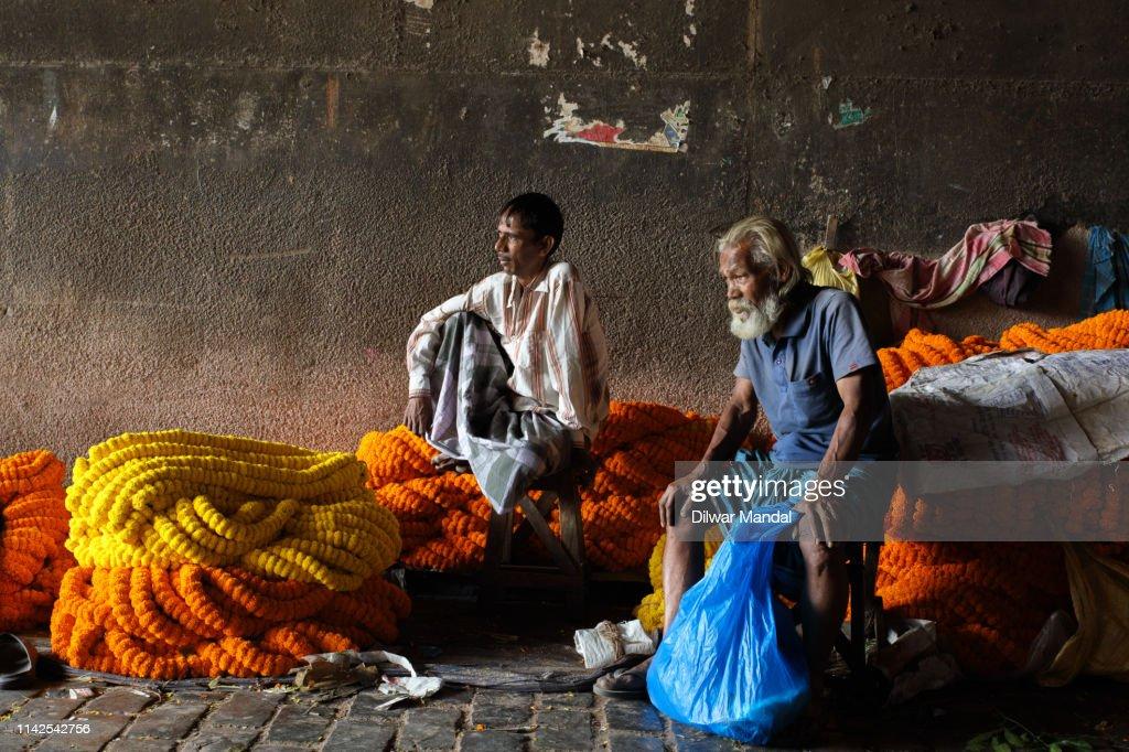Flower Seller at Kolkata : Stock Photo