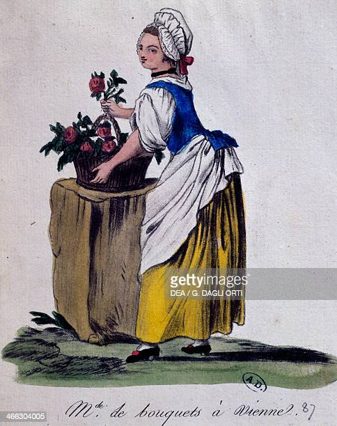 Flower seller in Vienna print Austria 18th century