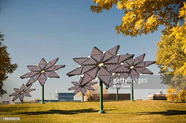 Flower shaped solar panels generate clean electricity at a wastewater treatment plant in Mississauga, Ontario, Canada