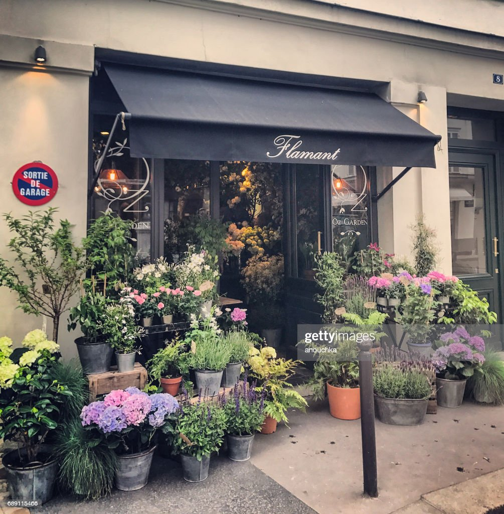 Flower shop in Paris, France : Stock Photo