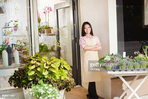 Flower Shop Retail Business Owner in Front of Store Hz