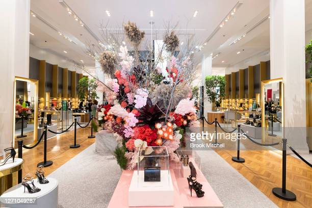 Flower Show imagery is seen from in store during the David Jones SS20 New Dawn Season Launch at David Jones Elizabeth Street Store on September 07...