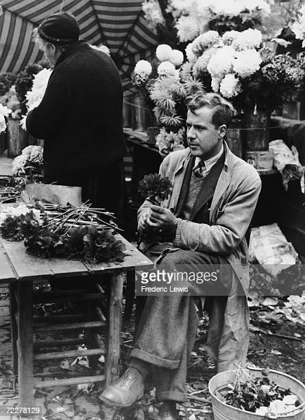A flower stall at the Grand Place in Brussels circa 1935