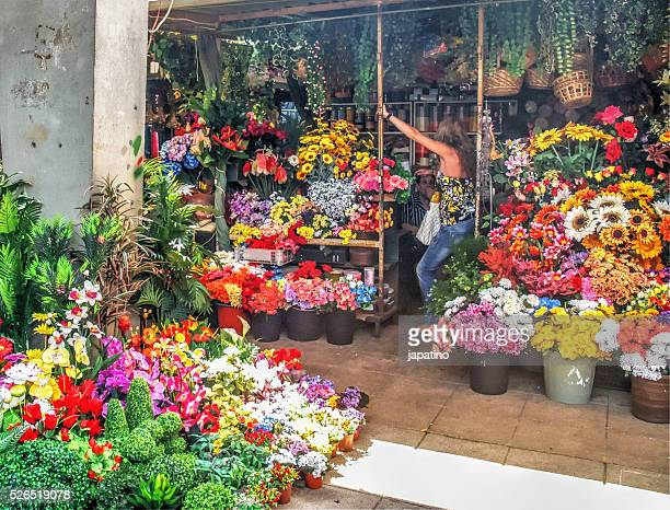 flower stall in the Bolhao Market in the city of Oporto. Portugal