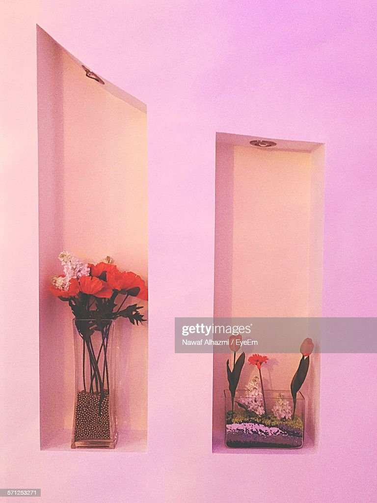 Flower Vase In Niche Of Pink Wall Stock Photo | Getty Images on us metalcraft vases, niche flower holders, cemetery vases, floral vases, niche wall art, graveside vases, bud vases,