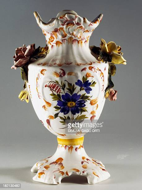 Flower vase with applied rose decoration ceramic height 23 cm L'ancora manufacture Nove di Bassano Veneto Italy 20th century