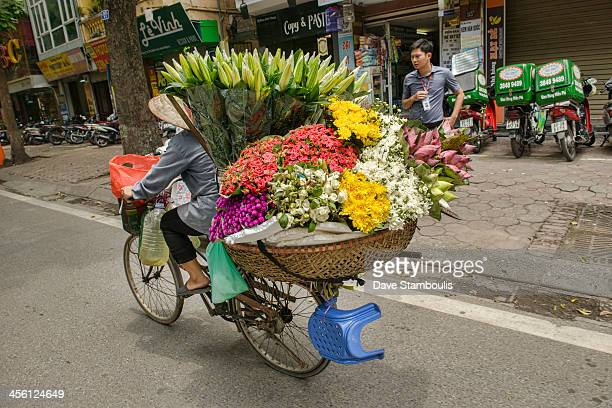 CONTENT] flower vendor on a bicycle in Hanoi Vietnam