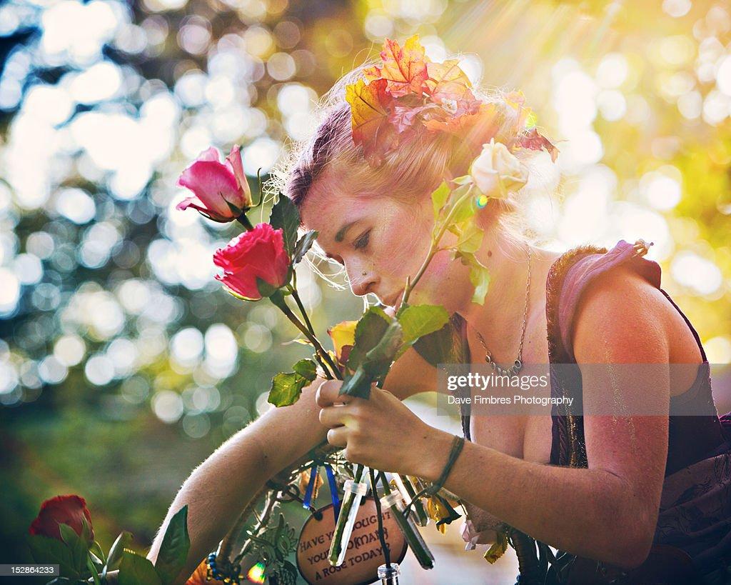 Flower vendor : Stock Photo