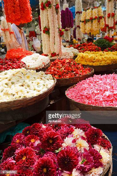 flower vendor's display, india - ali kabas stock pictures, royalty-free photos & images
