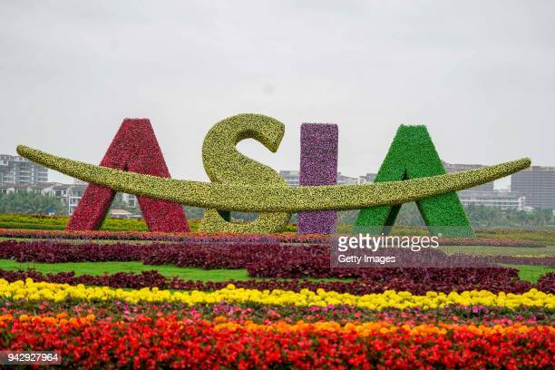 Flowerbed of the Boao Forum for Asia Annual Conference 2018 is seen on April 7, 2018 in Boao, Hainan Province of China. The Boao Forum for Asia...