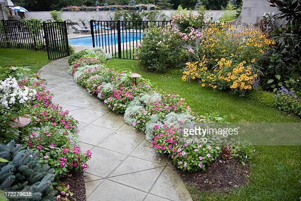 flowered backyard garden walk and swimming pool - terryfic3d bildbanksfoton och bilder