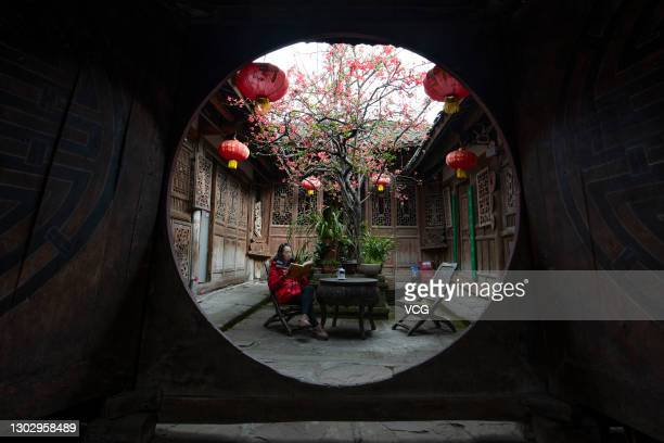 Flowering crabapple tree is seen in a yard at Langzhong Ancient Town on February 18, 2021 in Nanchong, Sichuan Province of China.