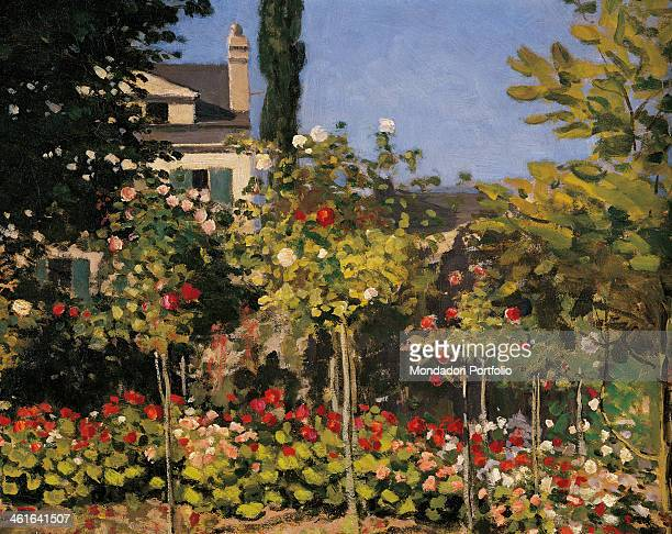 Flowering garden in SainteAdresse by Claude Monet 19th Century oil on canvas France Paris Musée d'Orsay Detail The red and white flowers in the garden