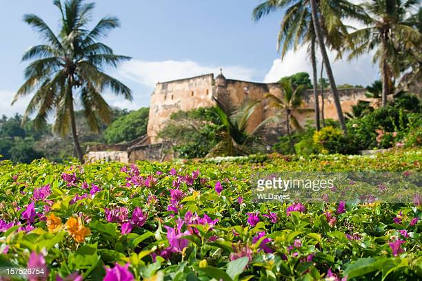flowering hedge with fort backdrop - mombasa stock photos and pictures