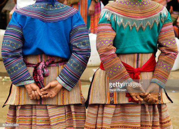 flowering hmong ladies - sapa stock pictures, royalty-free photos & images