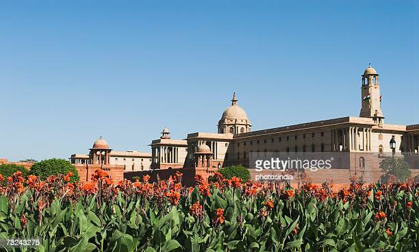 flowering plants beside a government building, rashtrapati bhavan, new delhi, india - rashtrapati bhavan presidential palace stock pictures, royalty-free photos & images