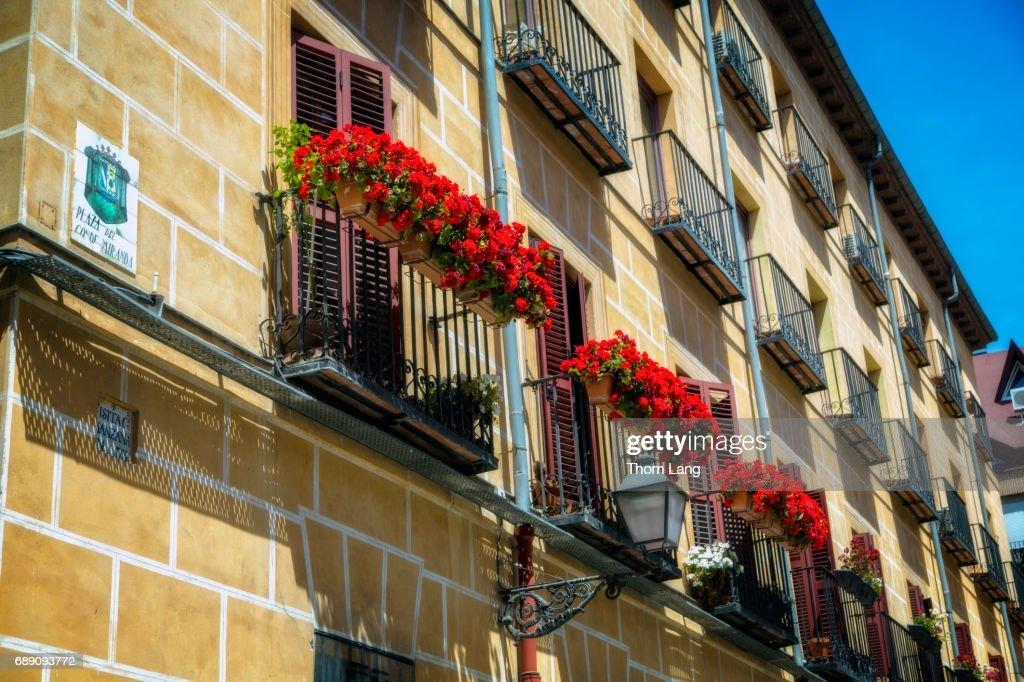 Flowering Window Boxes, Madrid, Spain : Stock Photo