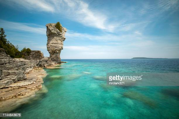 flowerpot island in fathom five national marine park, situated on lake huron in ontario - island stock pictures, royalty-free photos & images