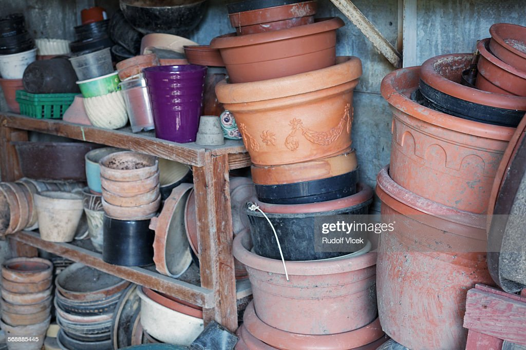 Flowerpots piled on each other : Stock Photo