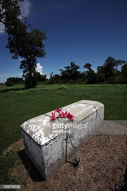 Flowers adorn a stillunidentified coffin retrieved from the Hurricane Katrina flooding at a cemetery August 19 2010 in Buras Louisiana The fifth...
