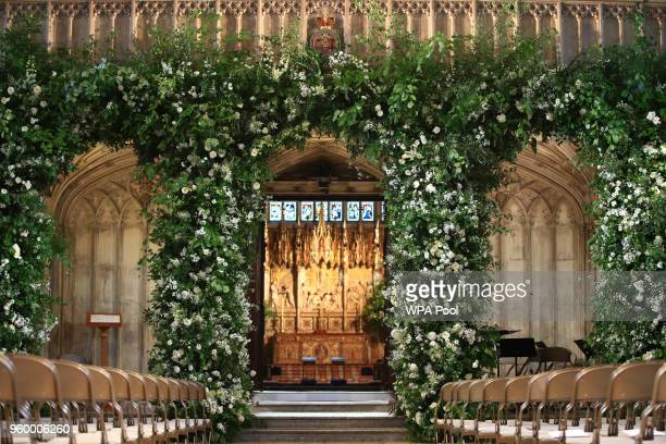 Flowers adorn the front of the organ loft inside St George's Chapel at Windsor Castle for the wedding of Prince Harry to Meghan Markle on May 19,...