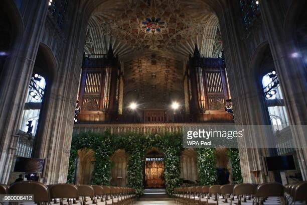 Flowers adorn the front of the organ loft inside St George's Chapel at Windsor Castle for the wedding of Prince Harry to Meghan Markle on May 19 2018...